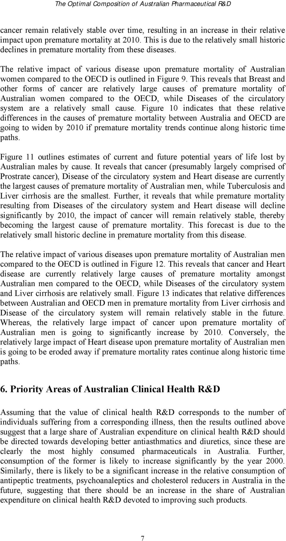 The relative impact of various disease upon premature mortality of Australian women compared to the OECD is outlined in Figure 9.