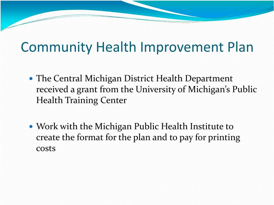Public Health Training Center Work with the Michigan Public Health