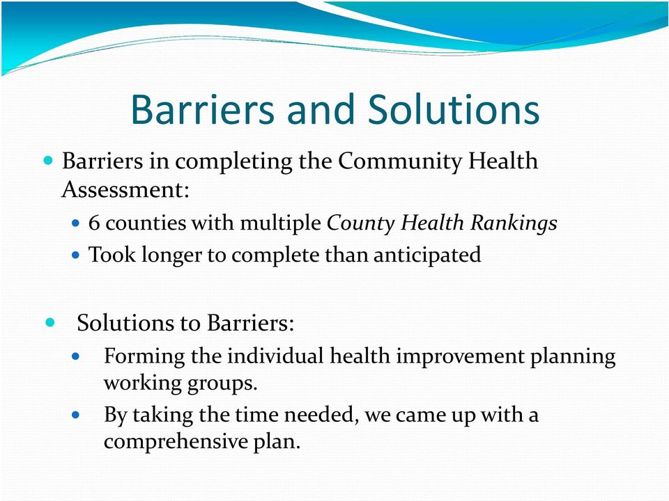 anticipated Solutions to Barriers: Forming the individual health improvement