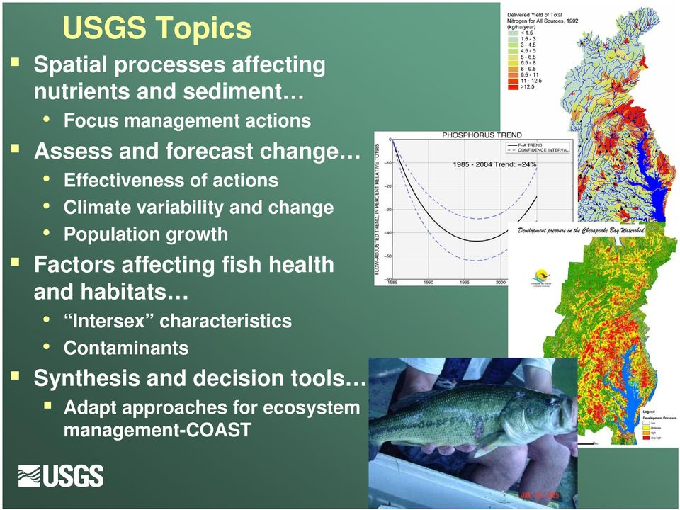 change Population growth Factors affecting fish health and habitats Intersex