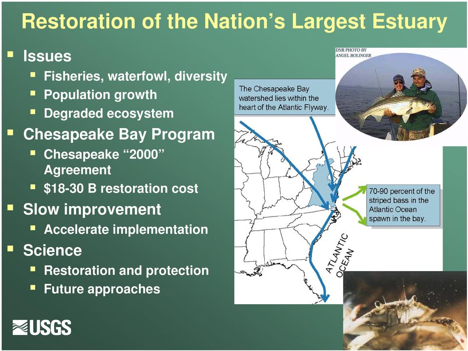 Chesapeake 2000 Agreement $18-30 B restoration cost Slow improvement