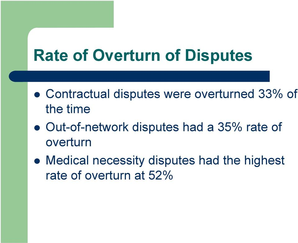 disputes had a 35% rate of overturn Medical