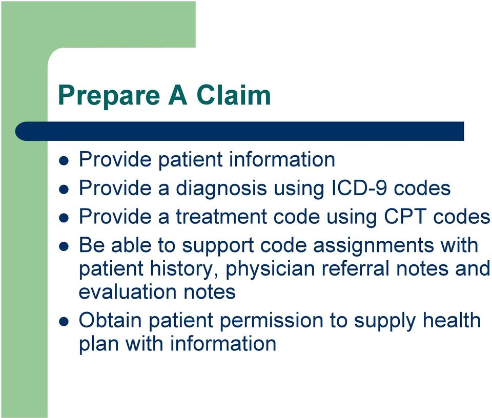 code assignments with patient history, physician referral notes and