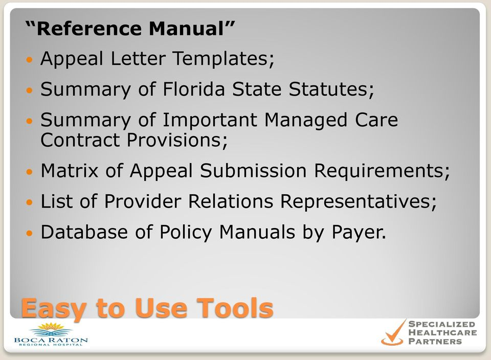 Matrix of Appeal Submission Requirements; List of Provider