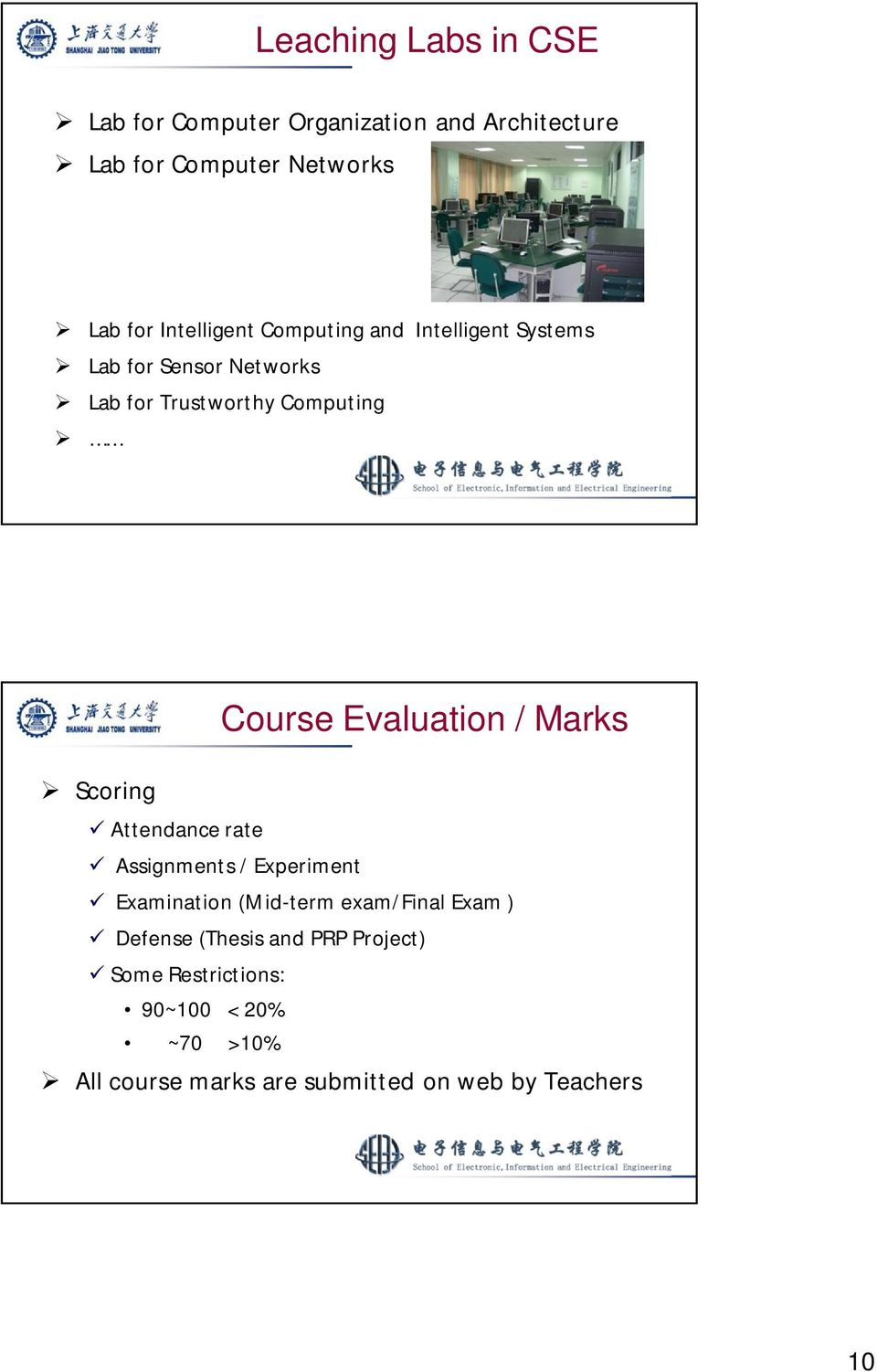 Attendance rate Course Evaluation / Marks Assignments / Experiment Examination (Mid-term exam/final Exam )
