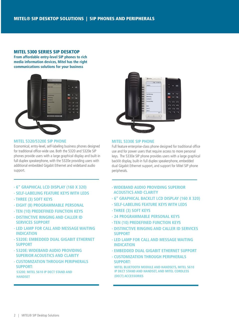 Both the 5320 and 5320e SIP phones provide users with a large graphical display and built-in full duplex speakerphone, with the 5320e providing users with additional embedded Gigabit Ethernet and