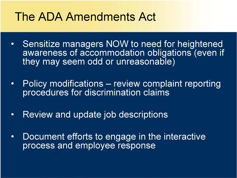 modifications review complaint reporting procedures for discrimination claims Review