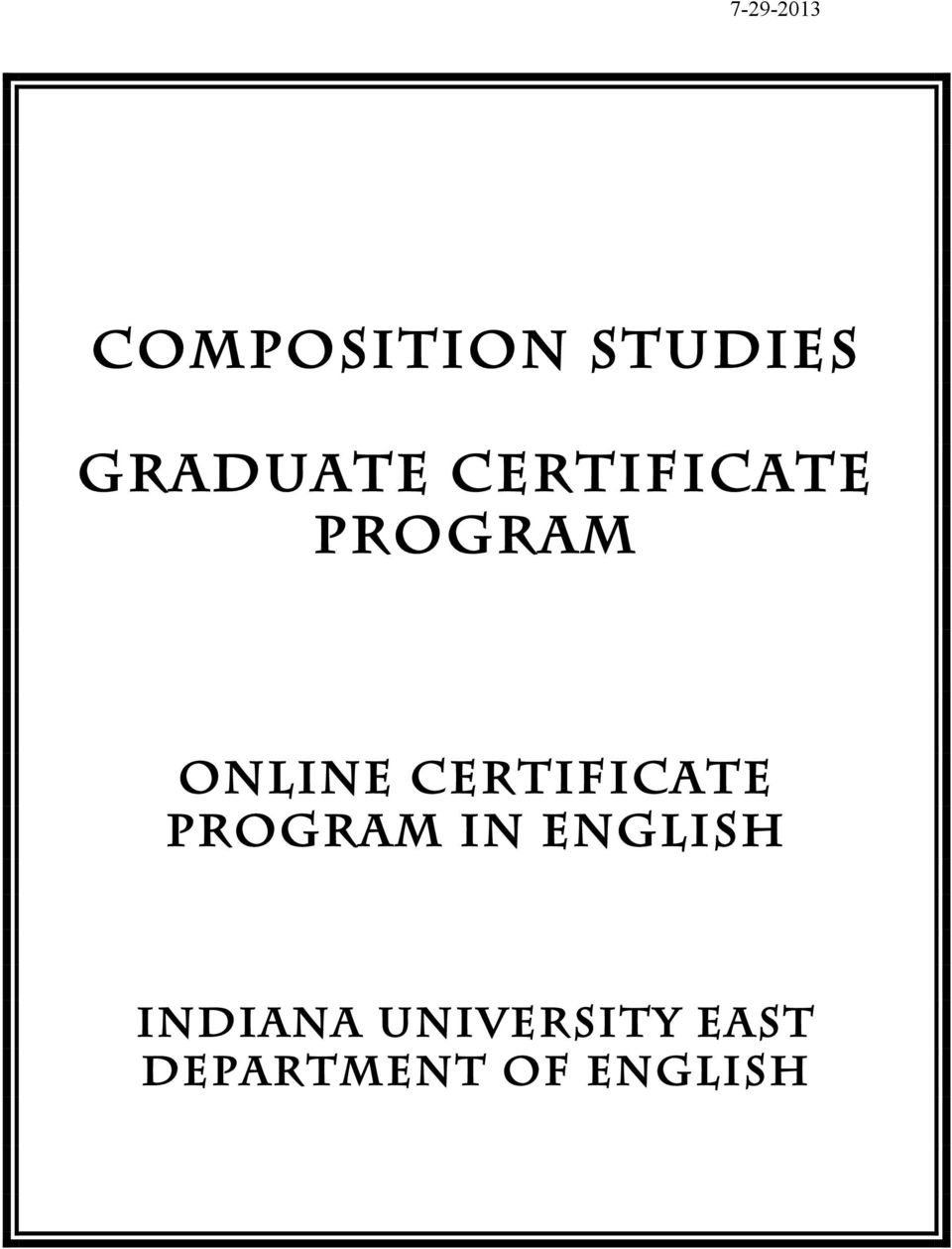 Certificate Program in English