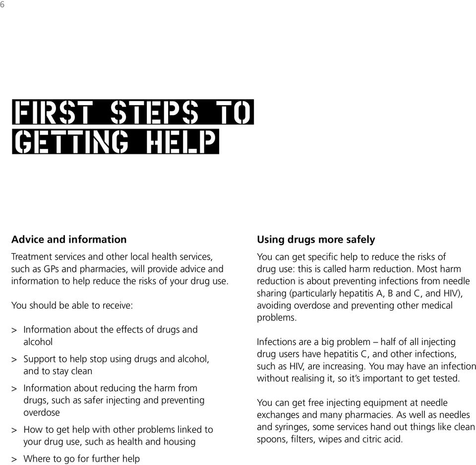 You should be able to receive: > Information about the effects of drugs and alcohol > Support to help stop using drugs and alcohol, and to stay clean > Information about reducing the harm from drugs,