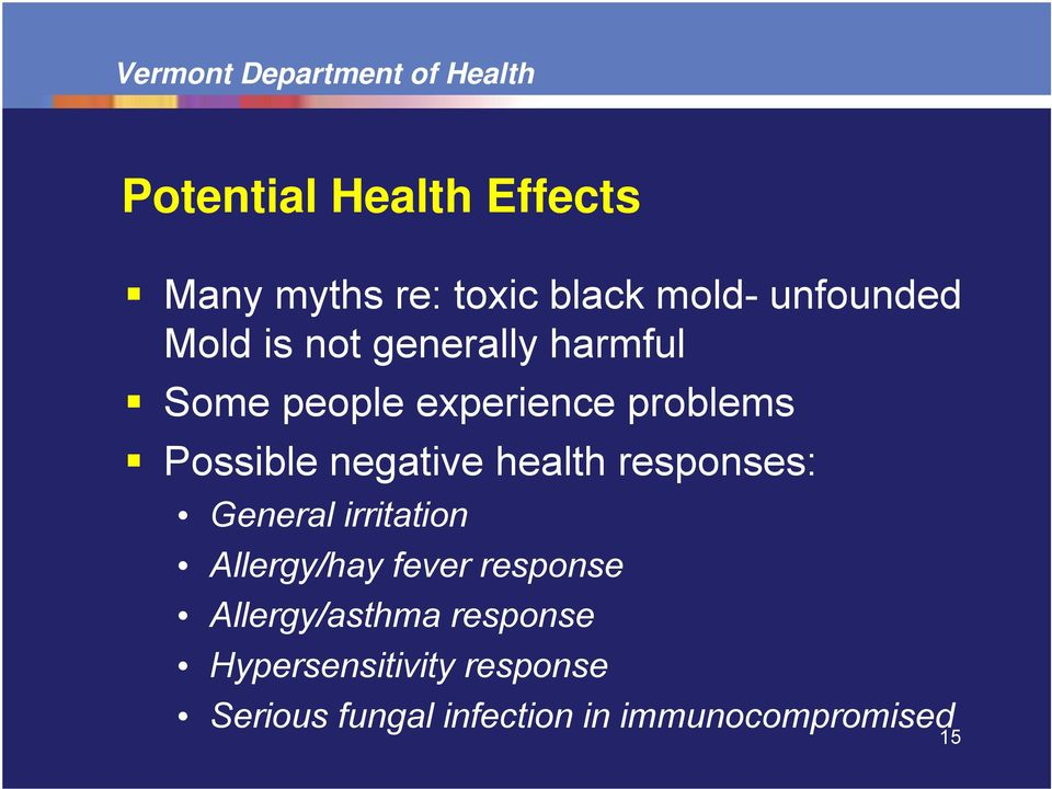 health responses: General irritation Allergy/hay fever response