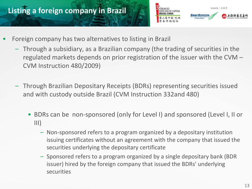 332and 480) BDRs can be non-sponsored (only for Level I) and sponsored (Level I, II or III) Non-sponsored refers to a program organized by a depositary institution issuing certificates without an