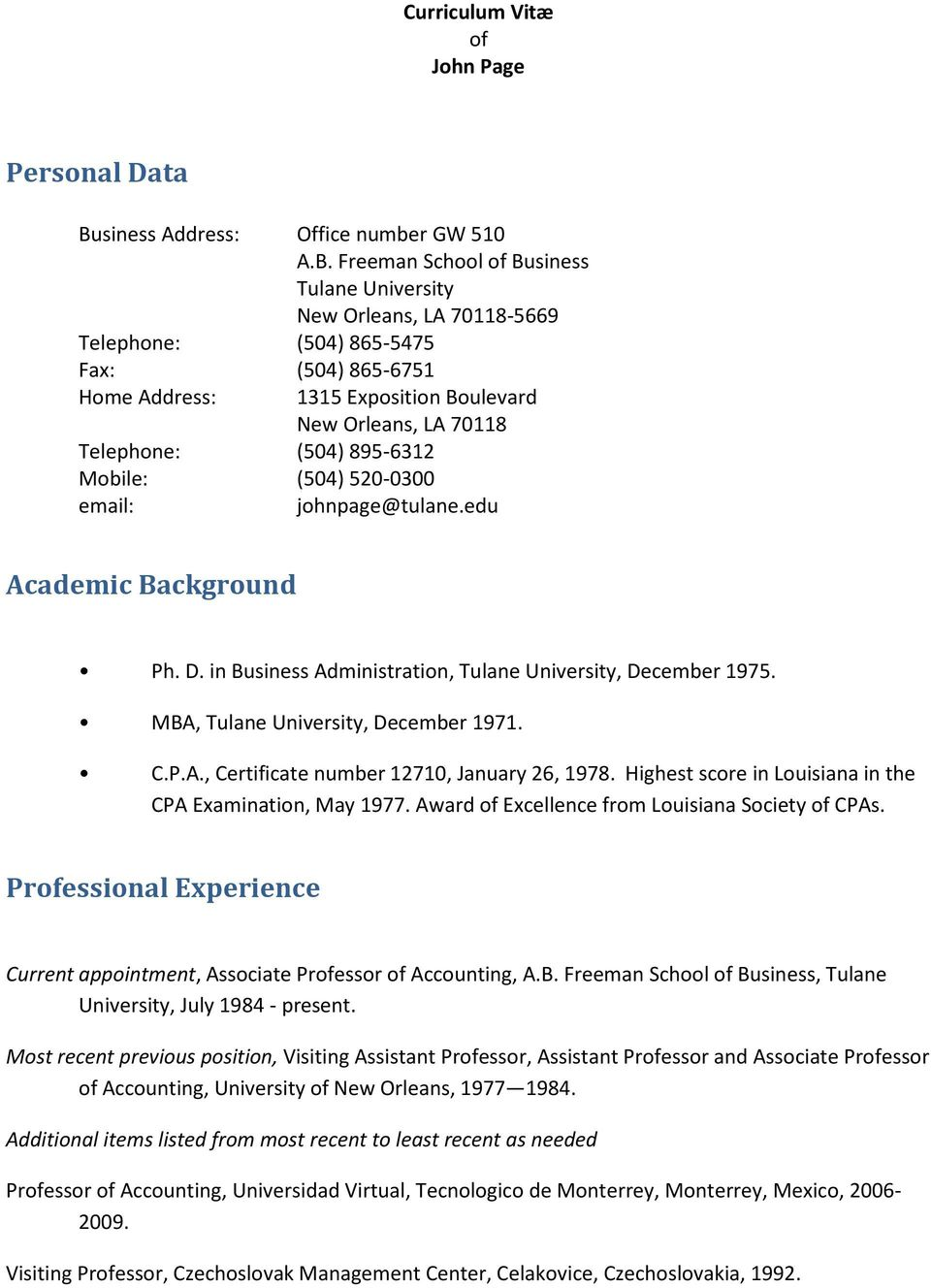 Curriculum Vitae Of John Page Ph D In Business Administration