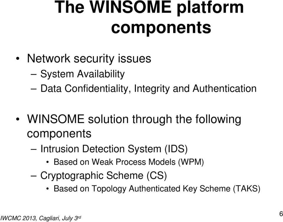 following components Intrusion Detection System (IDS) Based on Weak Process