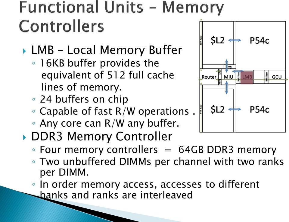 DDR3 Memory Controller Four memory controllers = 64GB DDR3 memory Two unbuffered DIMMs per