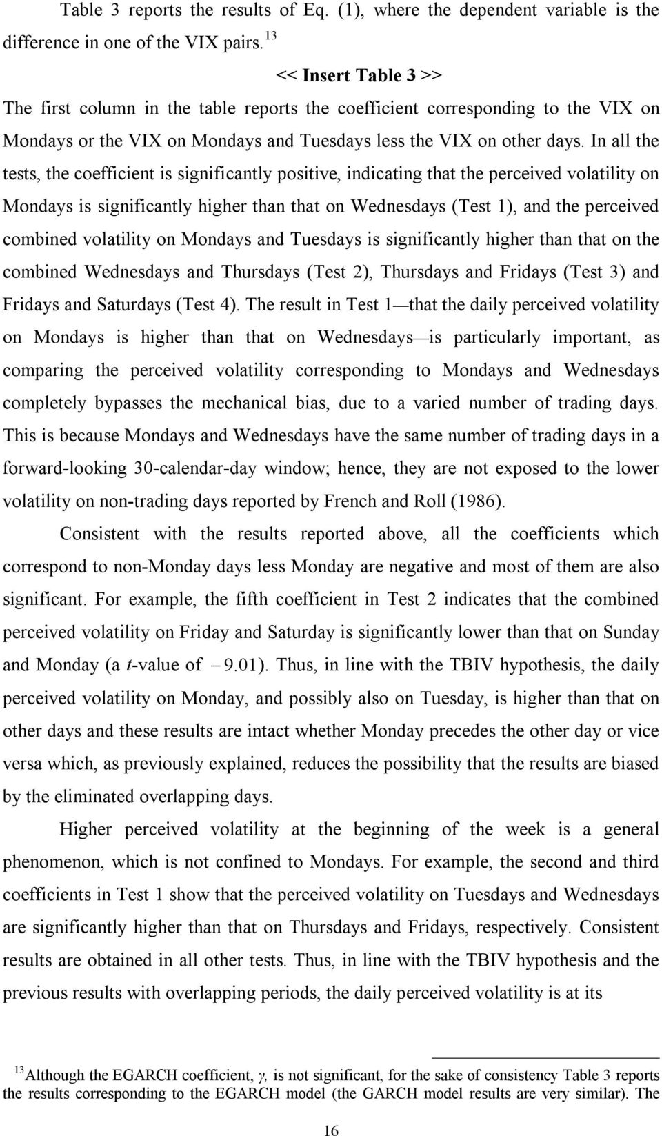 In all he ess, he coefficien is significanly posiive, indicaing ha he perceived volailiy on Mondays is significanly higher han ha on Wednesdays (Tes 1), and he perceived combined volailiy on Mondays