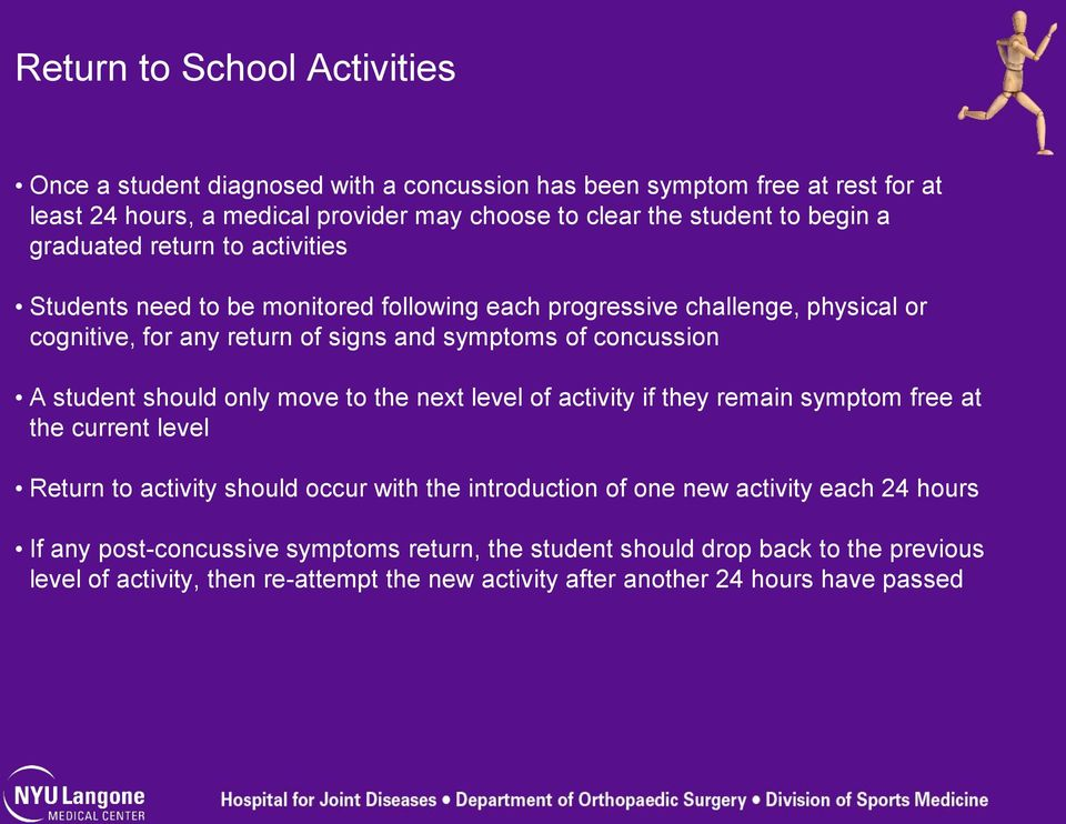 A student should only move to the next level of activity if they remain symptom free at the current level Return to activity should occur with the introduction of one new activity