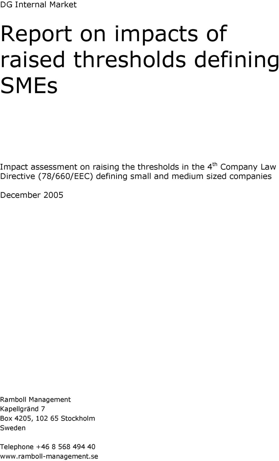 defining small and medium sized companies December 2005 Ramboll Management