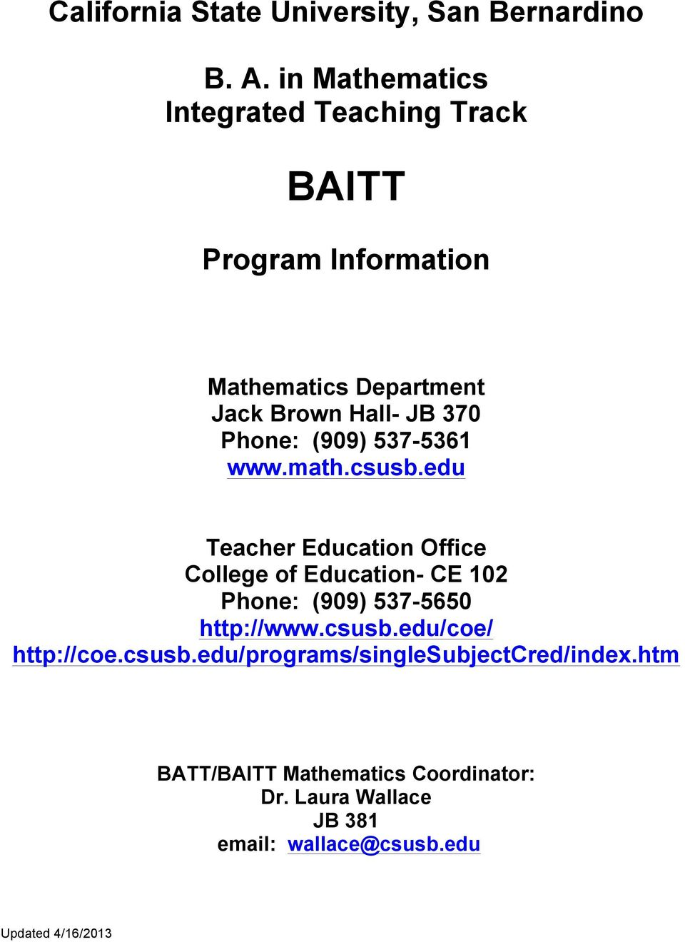 Phone: (909) 537-5361 www.math.csusb.