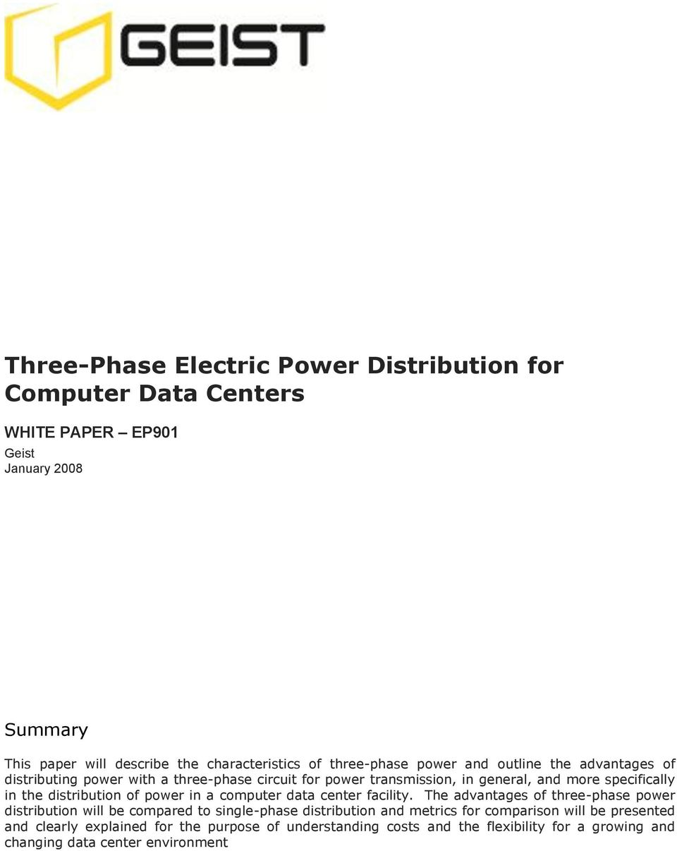 distribution of power in a computer data center facility.