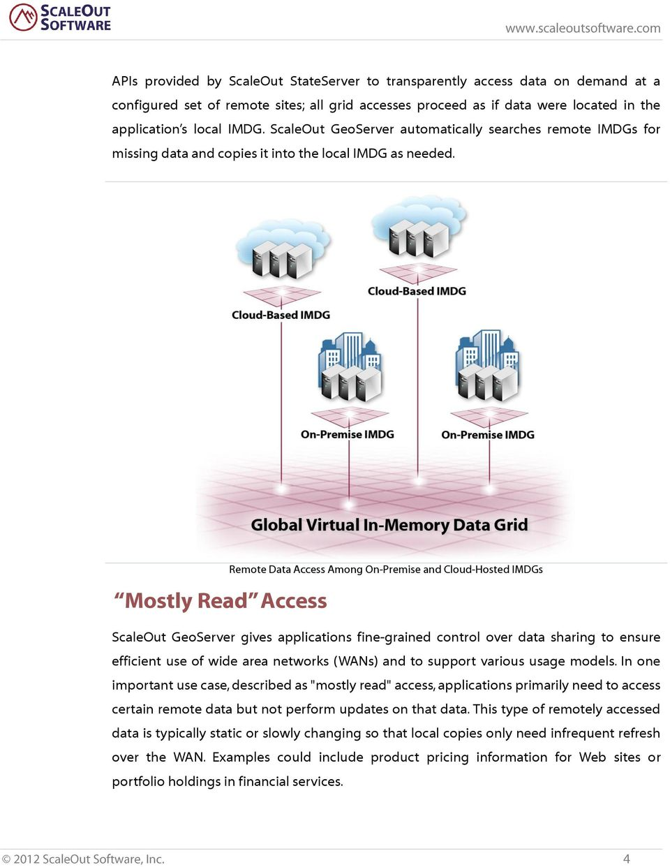 Mostly Read Access Remote Data Access Among On-Premise and Cloud-Hosted IMDGs ScaleOut GeoServer gives applications fine-grained control over data sharing to ensure efficient use of wide area