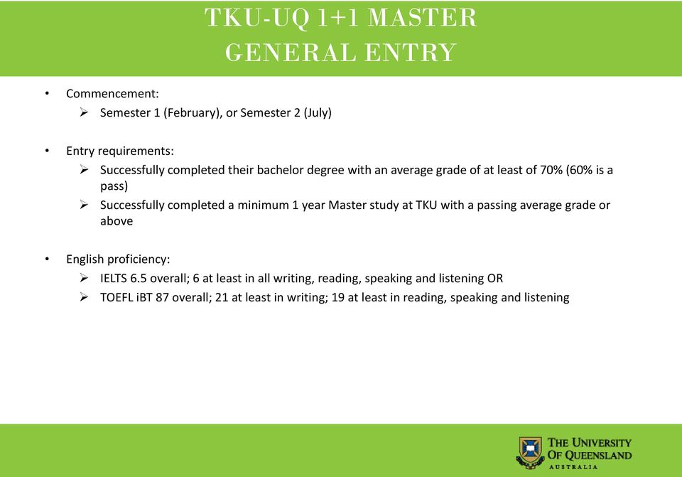 year Master study at TKU with a passing average grade or above English proficiency: IELTS 6.