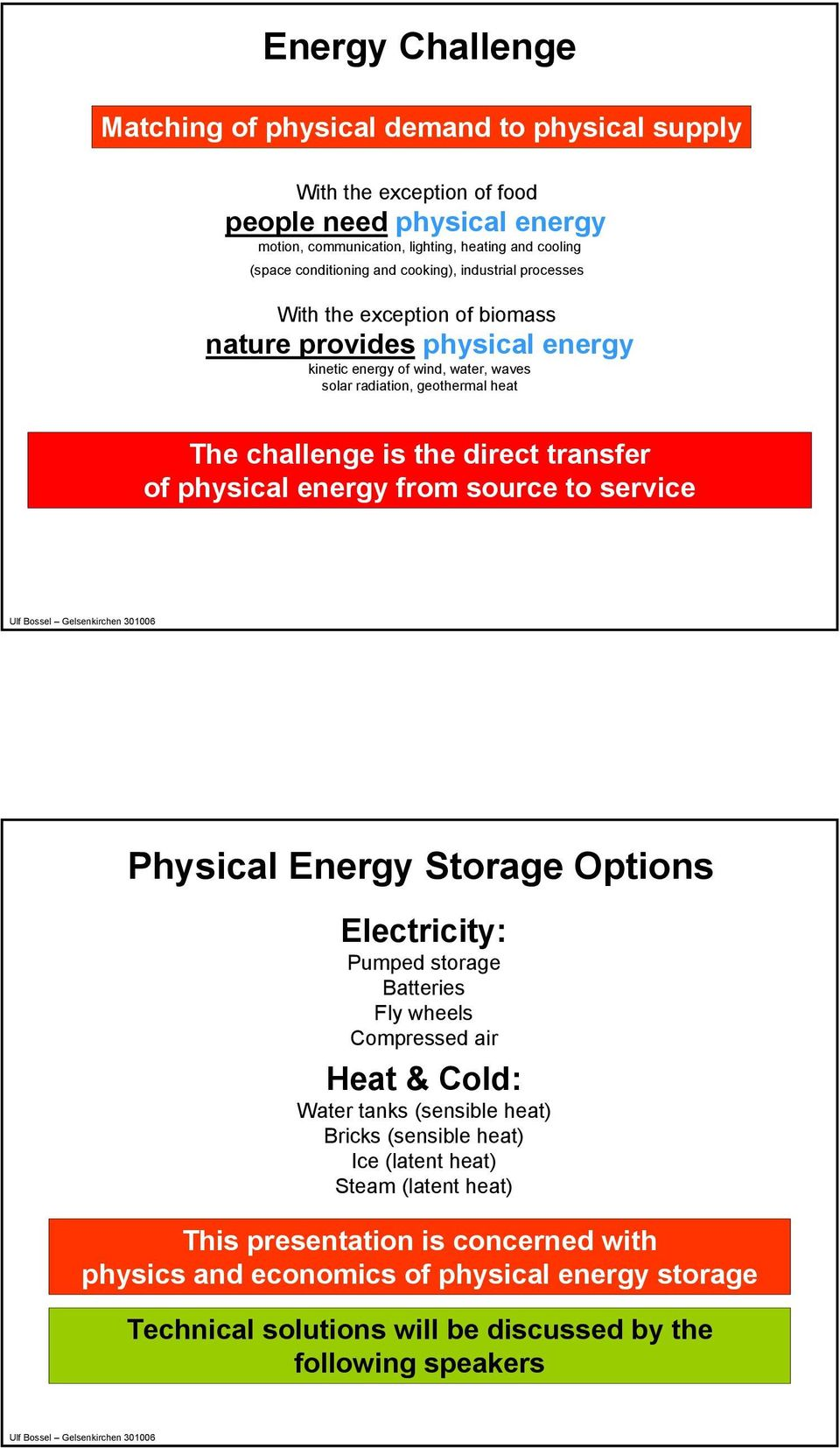 transfer of physical energy from source to service Physical Energy Storage Options Electricity: Pumped storage Batteries Fly wheels Compressed air Heat & Cold: Water tanks (sensible heat) Bricks