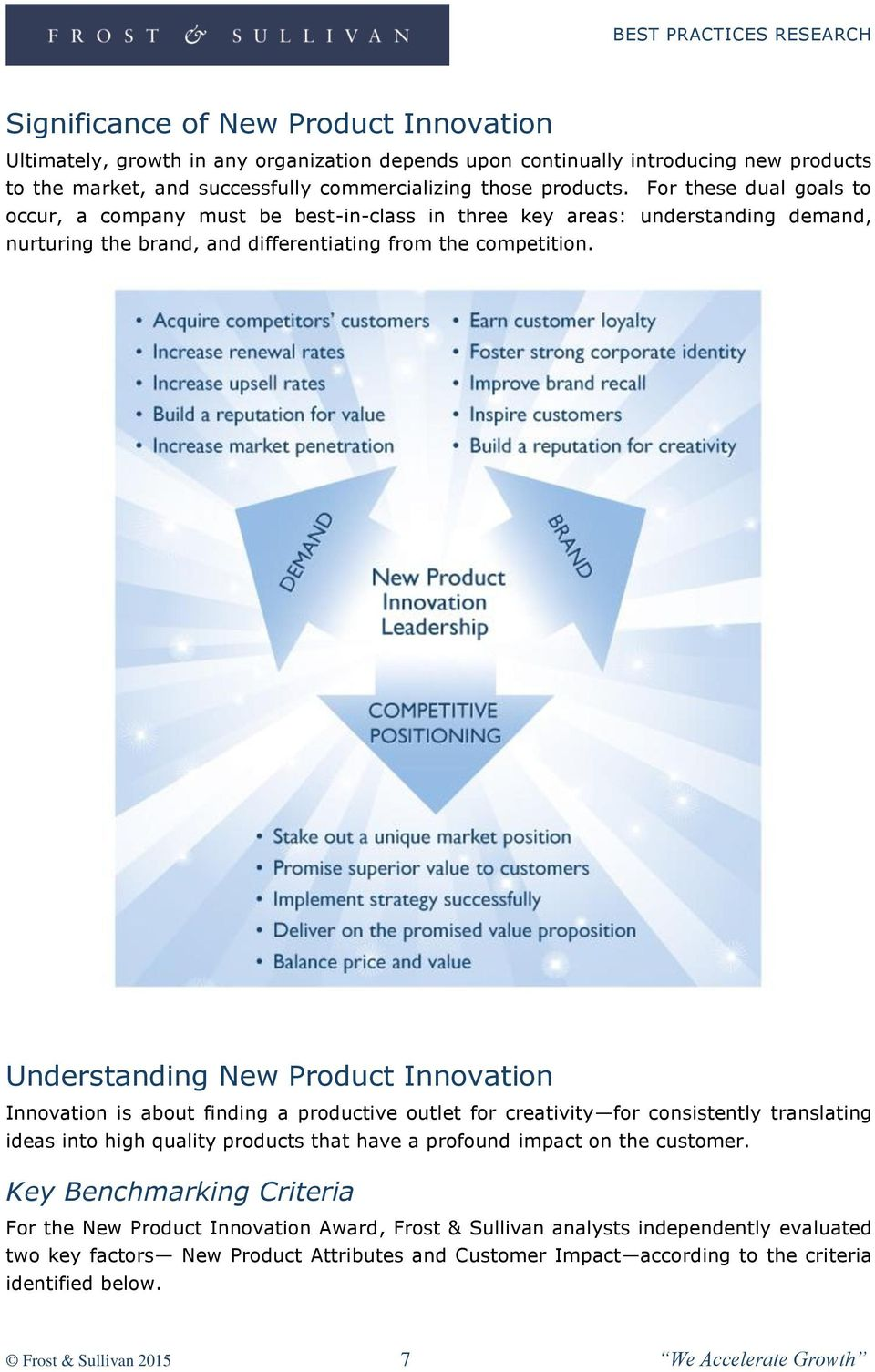 Understanding New Product Innovation Innovation is about finding a productive outlet for creativity for consistently translating ideas into high quality products that have a profound impact on the