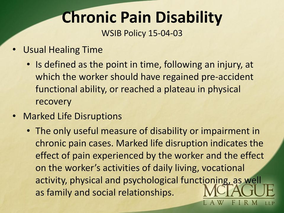 of disability or impairment in chronic pain cases.