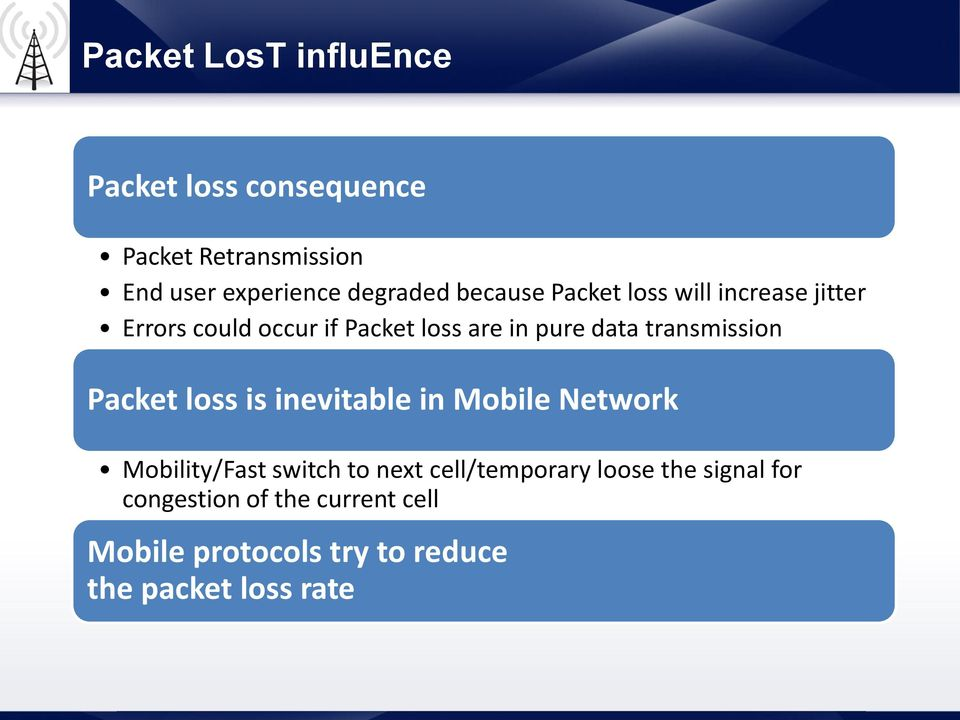transmission Packet loss is inevitable in Mobile Network Mobility/Fast switch to next