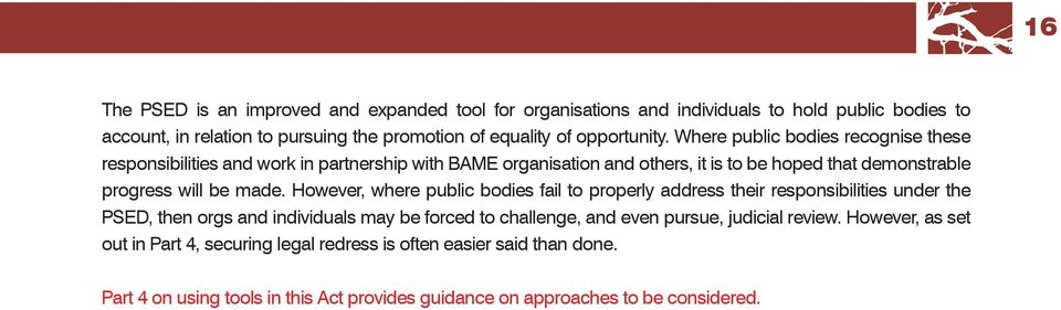 Where public bodies recognise these responsibilities and work in partnership with BAME organisation and others, it is to be hoped that demonstrable progress will be made.
