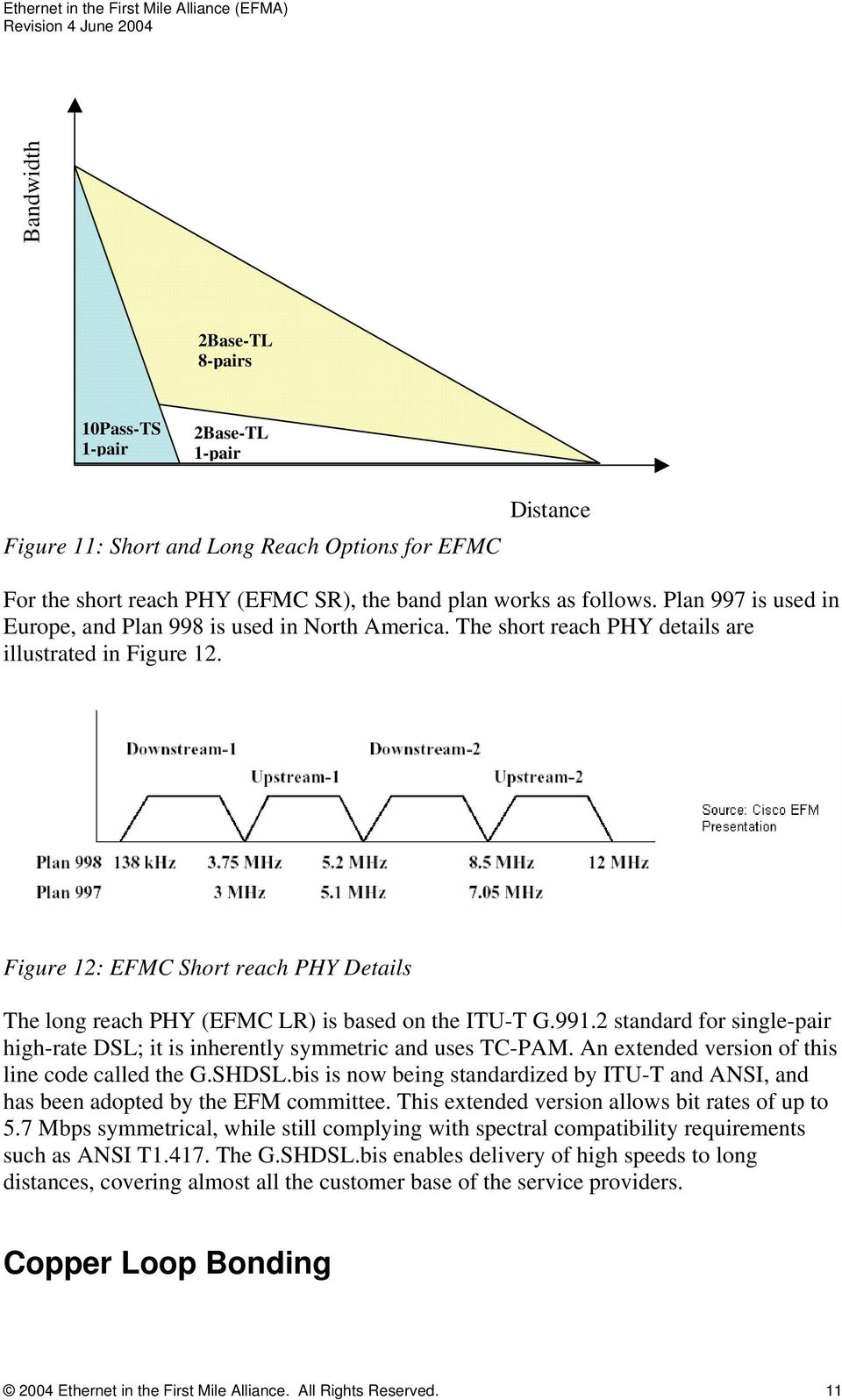 Figure 12: EFMC Short reach PHY Details The long reach PHY (EFMC LR) is based on the ITU-T G.991.2 standard for single-pair high-rate DSL; it is inherently symmetric and uses TC-PAM.