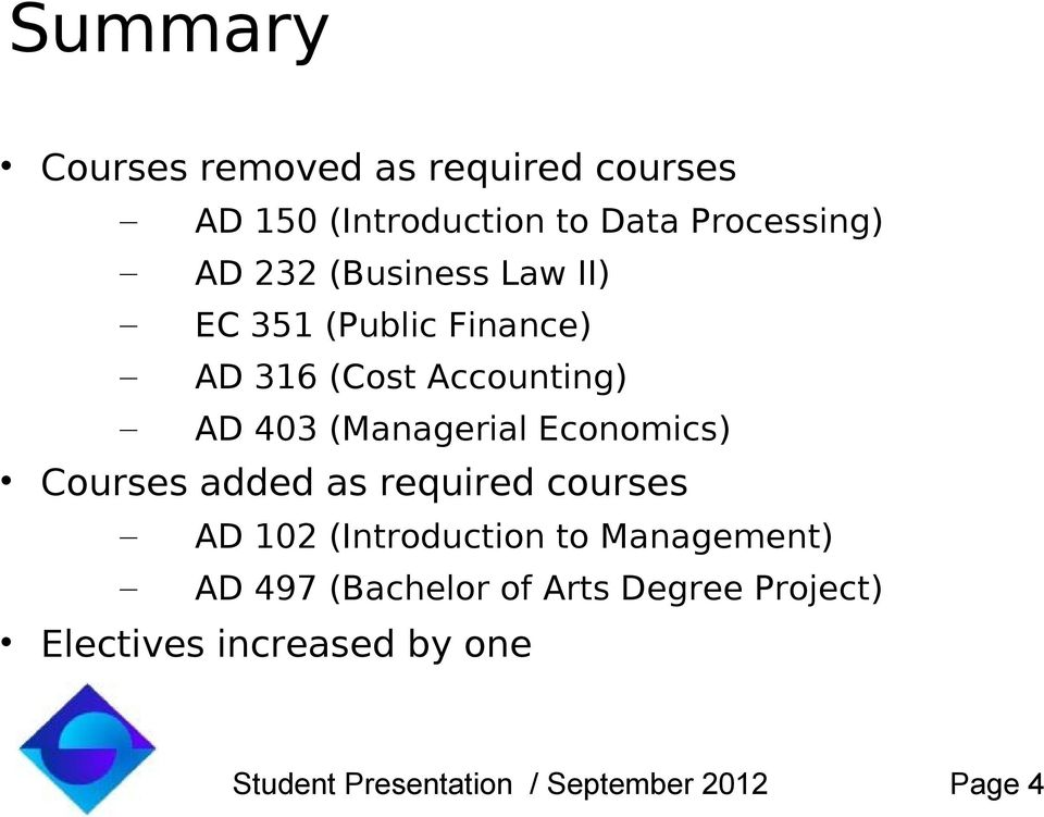 Economics) Courses added as required courses AD 102 (Introduction to Management) AD 497
