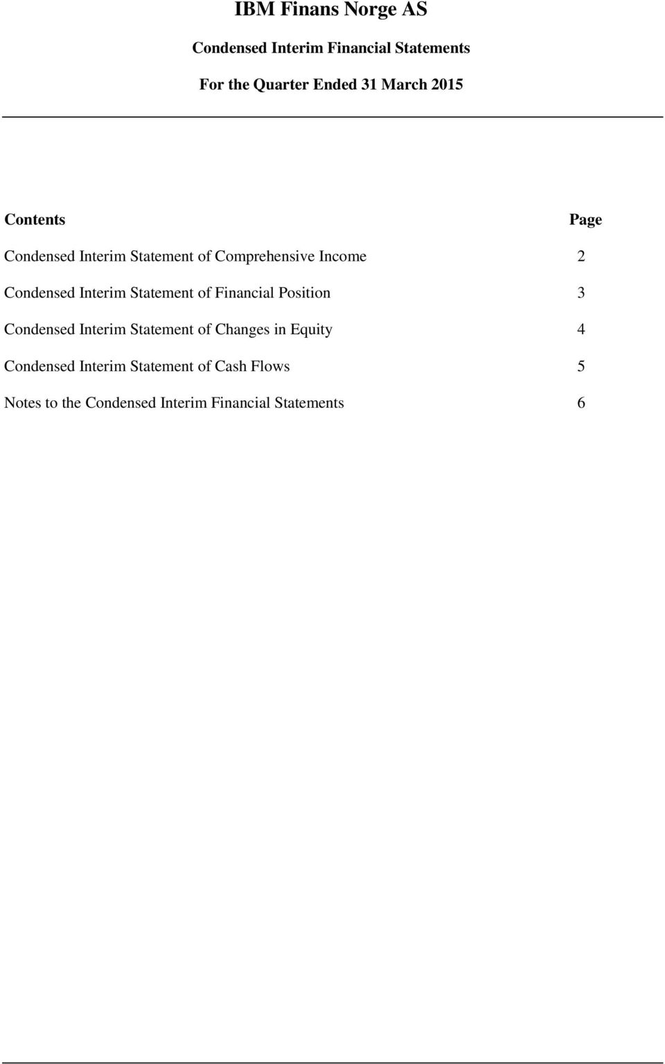 of Financial Position 3 Condensed Interim Statement of Changes in Equity 4