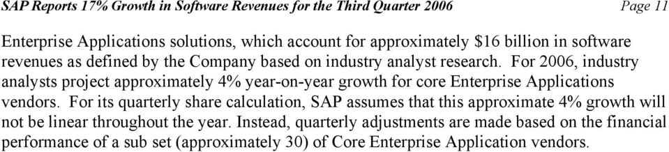 For 2006, industry analysts project approximately 4% yearonyear growth for core Enterprise Applications vendors.