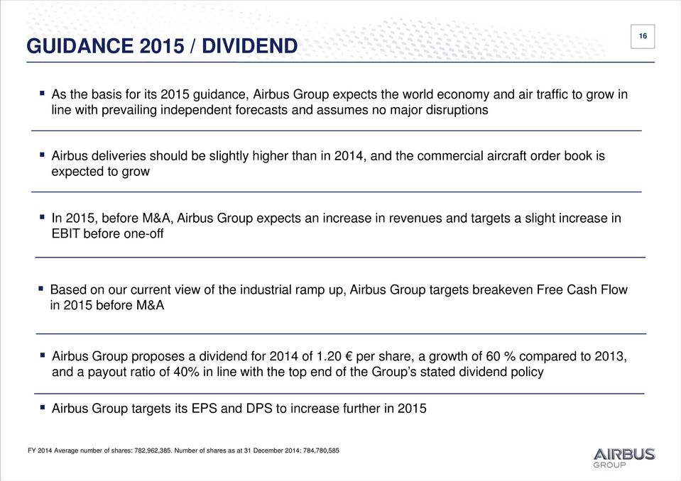 targets a slight increase in EBIT before one-off Based on our current view of the industrial ramp up, Airbus Group targets breakeven Free Cash Flow in 2015 before M&A Airbus Group proposes a dividend