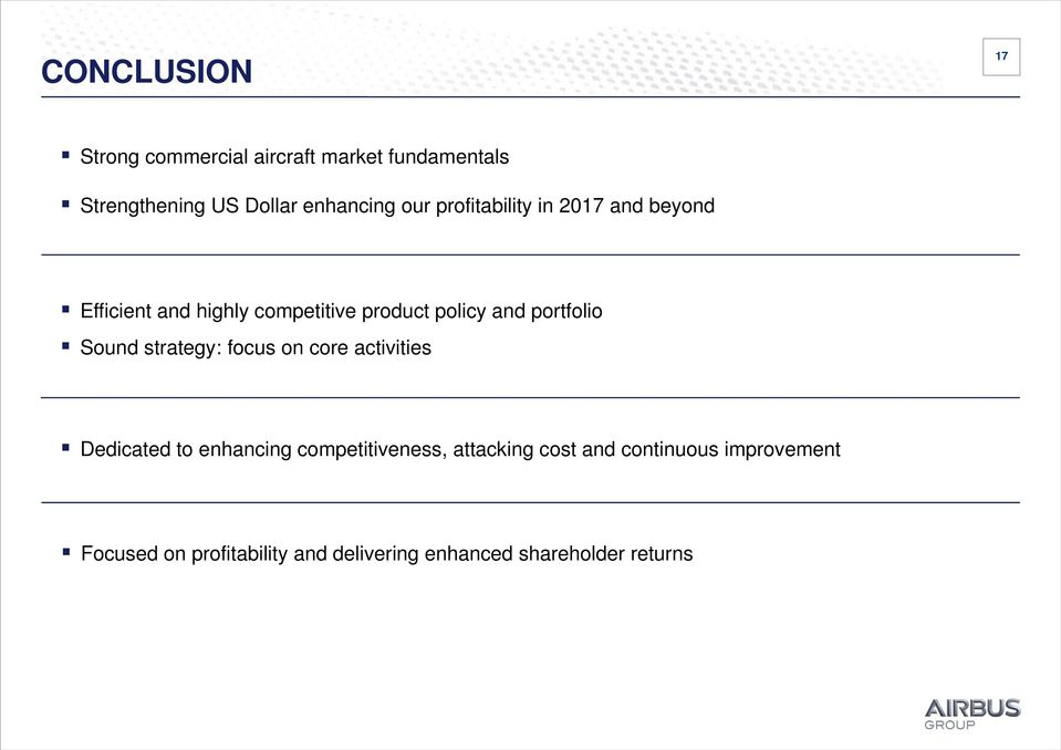 portfolio Sound strategy: focus on core activities Dedicated to enhancing competitiveness,