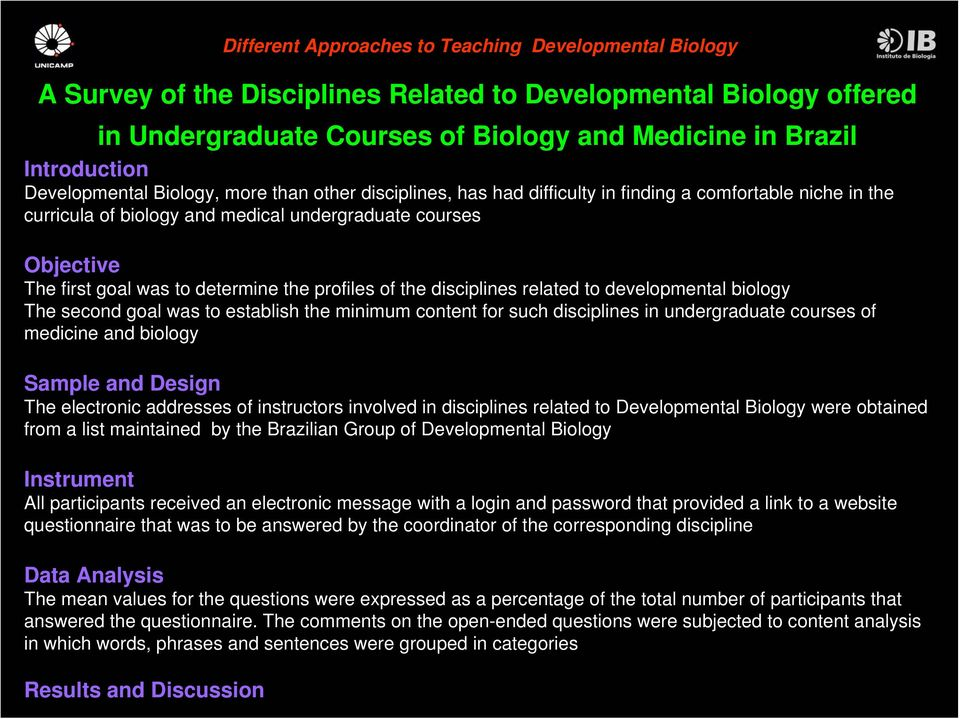 goal was to establish the minimum content for such disciplines in undergraduate courses of medicine and biology Sample and Design The electronic addresses of instructors involved in disciplines