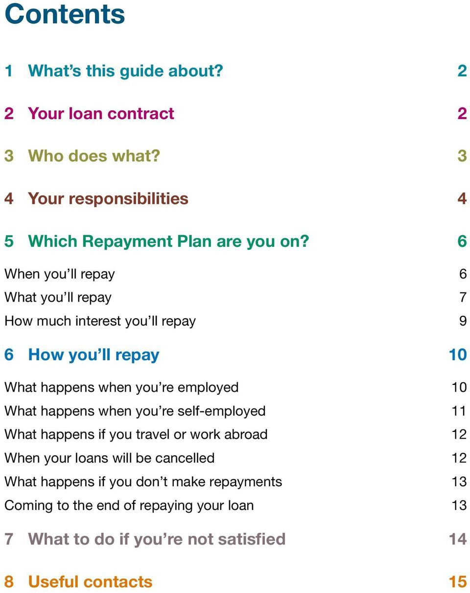 6 When you ll repay 6 What you ll repay 7 How much interest you ll repay 9 6 How you ll repay 10 What happens when you re employed 10
