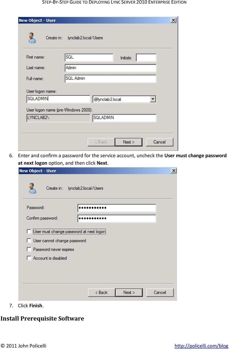 password at next logon option, and then click