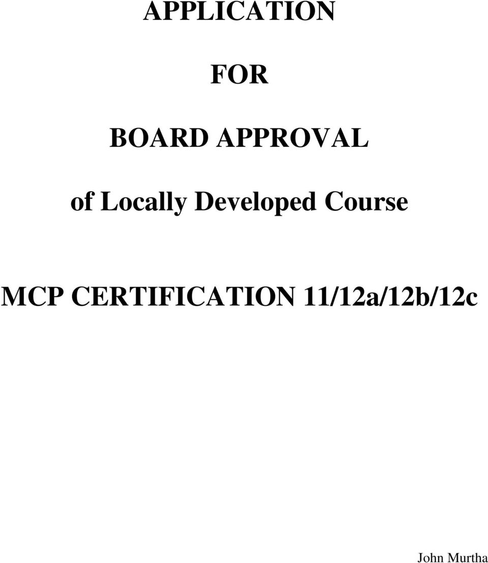 Developed Course MCP