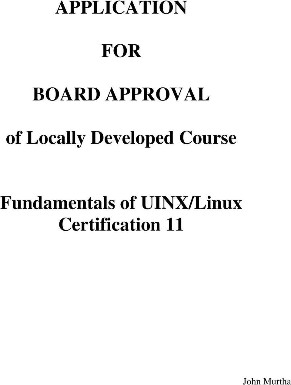 Developed Course