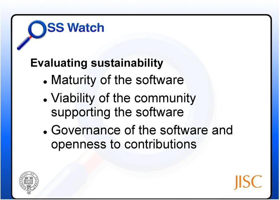 supporting the software Governance of