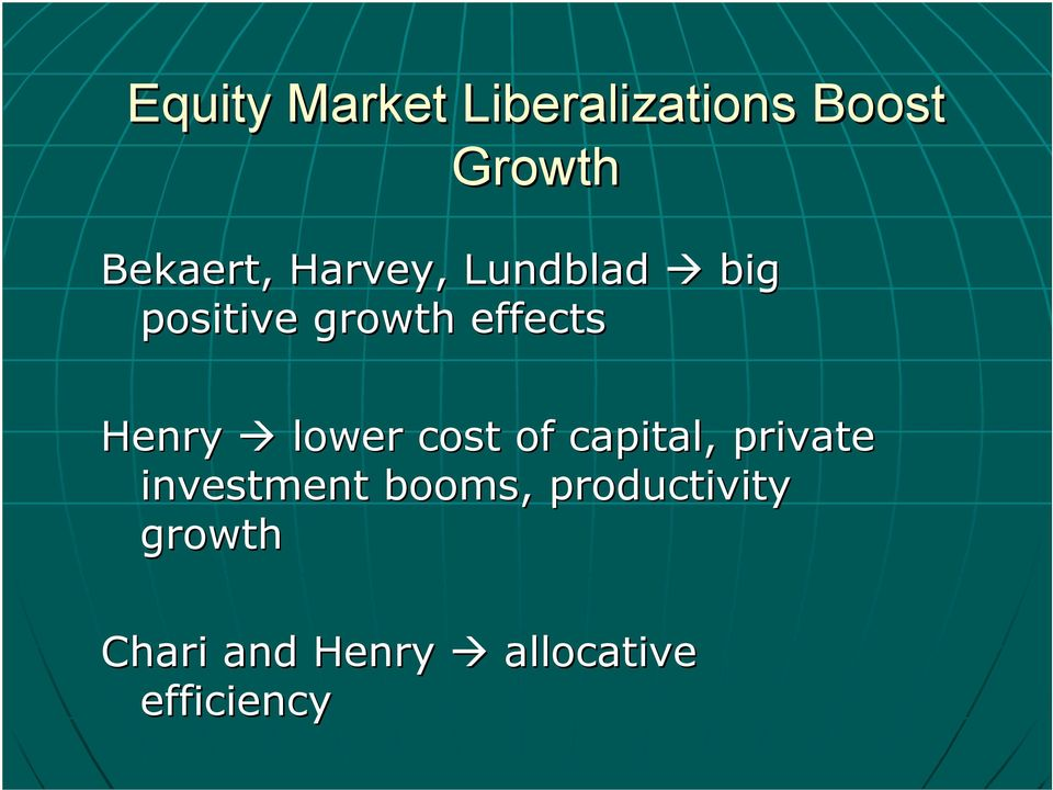 lower cost of capital, private investment booms,