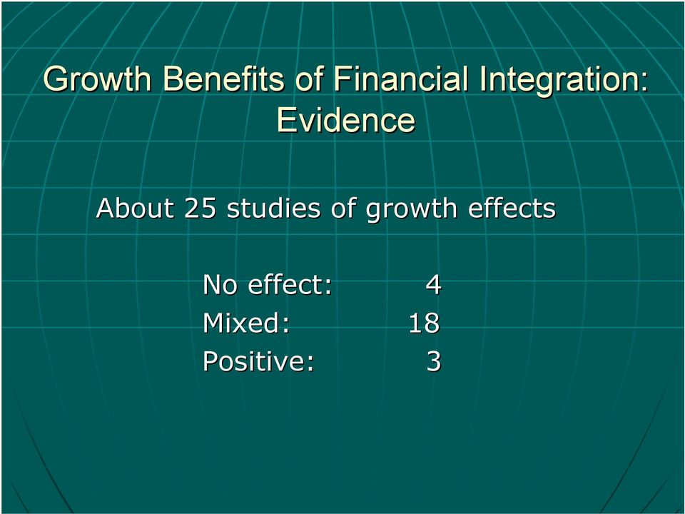25 studies of growth effects