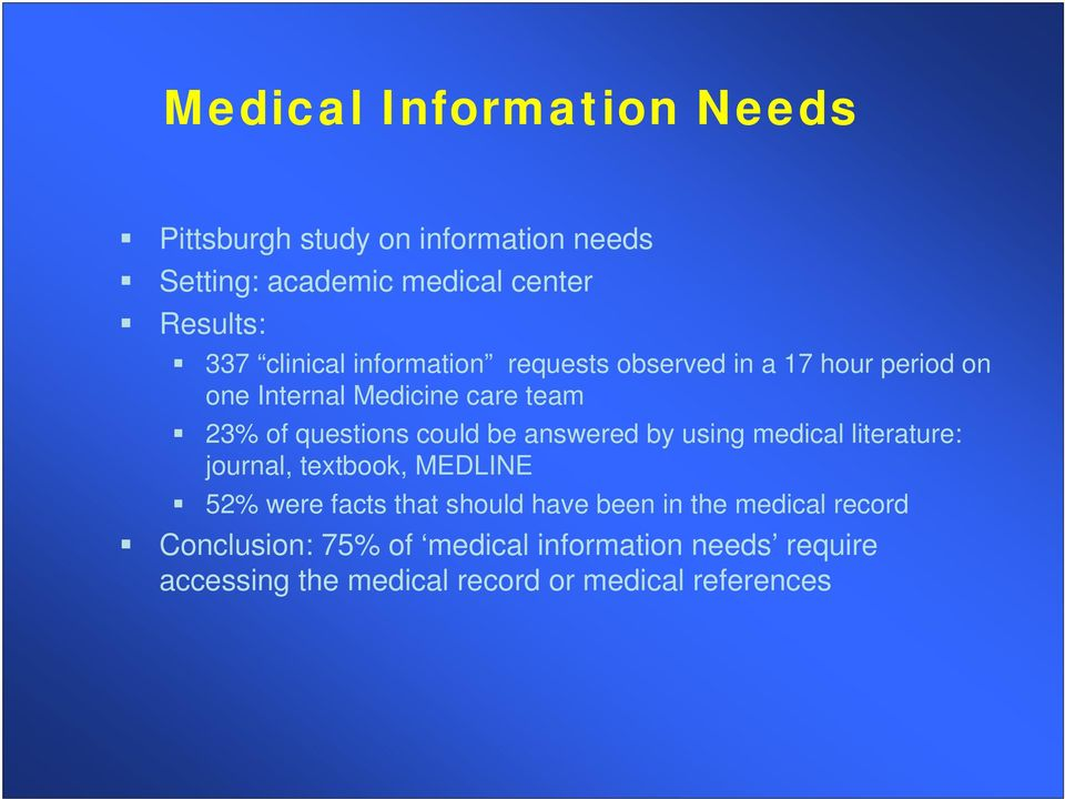 could be answered by using medical literature: journal, textbook, MEDLINE 52% were facts that should have been in