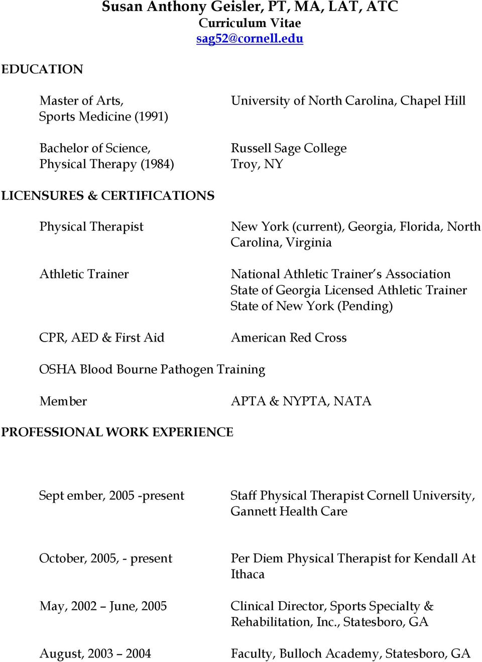 Physical Therapist Athletic Trainer CPR, AED & First Aid New York (current), Georgia, Florida, North Carolina, Virginia National Athletic Trainer s Association State of Georgia Licensed Athletic