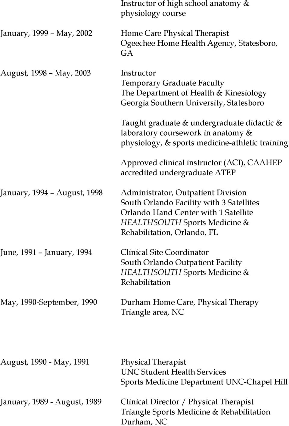 medicine-athletic training Approved clinical instructor (ACI), CAAHEP accredited undergraduate ATEP January, 1994 August, 1998 June, 1991 January, 1994 May, 1990-September, 1990 Administrator,