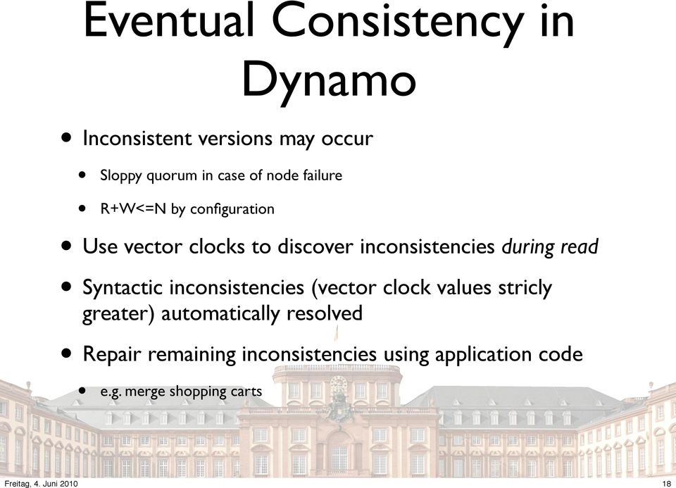 during read Syntactic inconsistencies (vector clock values stricly greater)