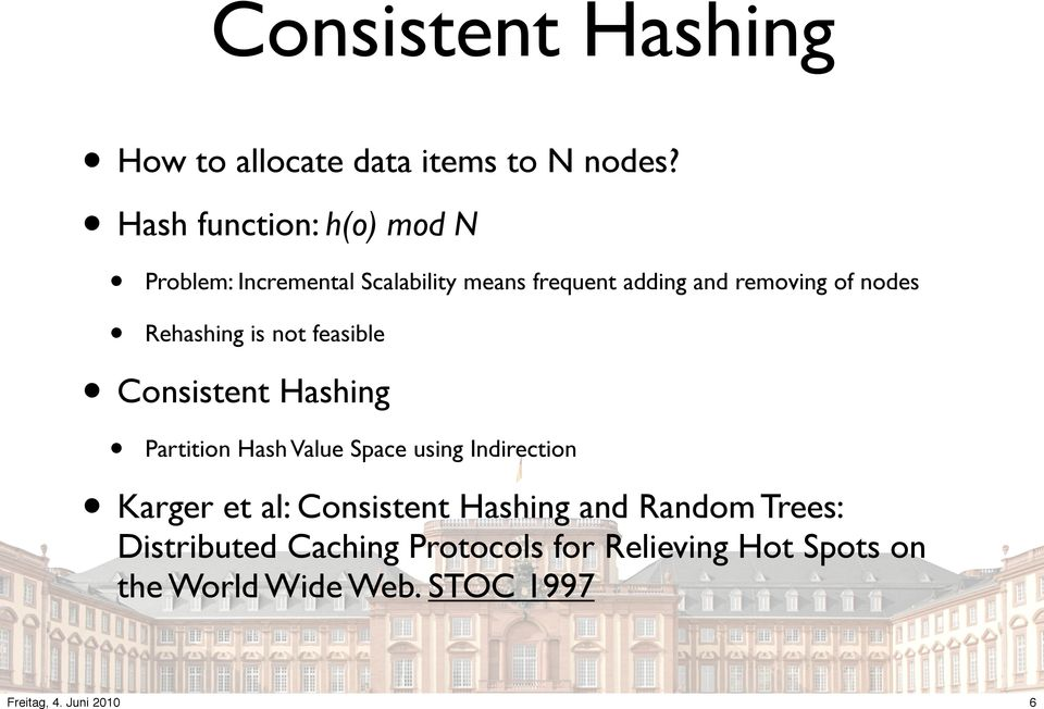 nodes Rehashing is not feasible Consistent Hashing Partition Hash Value Space using Indirection