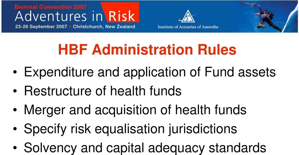 acquisition of health funds Specify risk equalisation